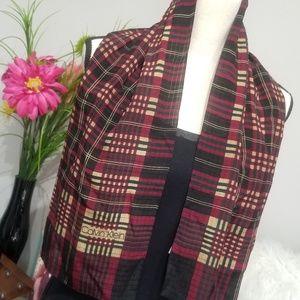Calvin Klein Accessories - Calvin Klein Scarf Womens 100% Silk Red Plaid